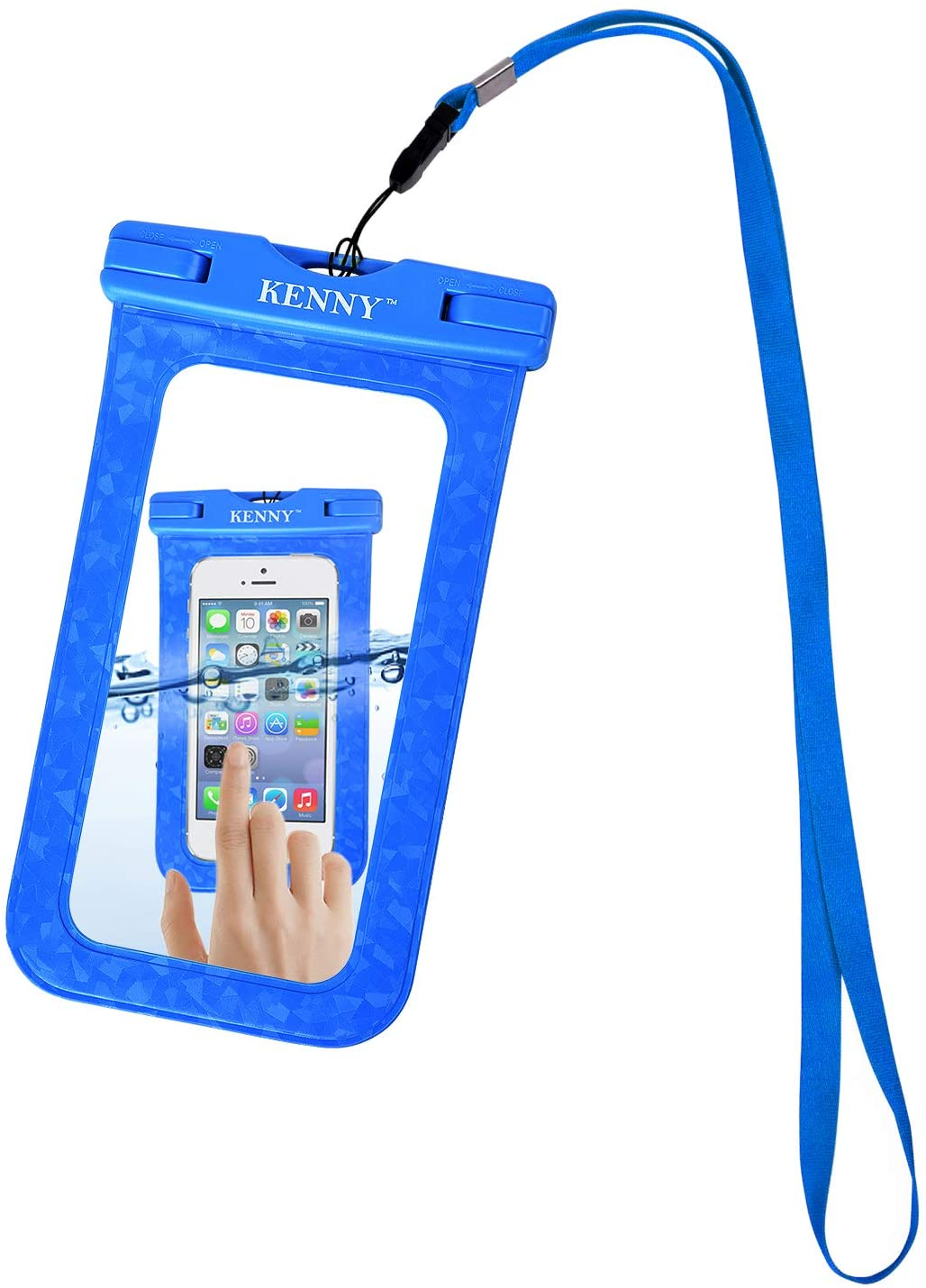 Kenny Waterproof Phone Pouch Cell Dry Bag,IPX8 Waterproof Phone Case with Embossed Design for All Smartphones up to 6.0 Diagonal Size, with Neck Strap, for Water Park Activities (003-Blue)