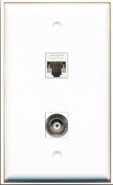 RiteAV - 1 Port BNC 1 Port Cat5e White Wall Plate - Bracket Included