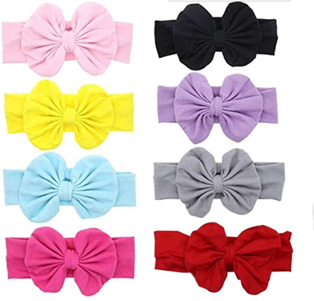 Ranvi Baby Hair Hoops Headbands Girl's Soft Headbands With bows (8 Pack)
