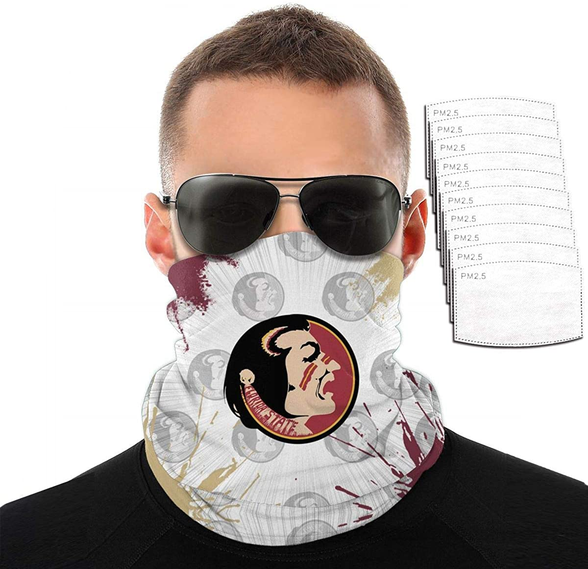 College_Mask Face Bandana Guard Dust Pattern Reusable Washable Breathable Outdoor Ink with Filter
