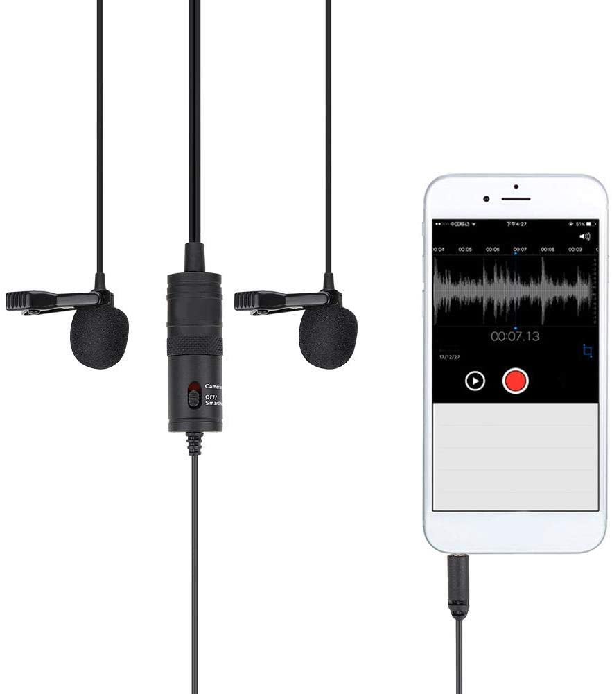 Qiilu Lavalier Microphone, 13ft Lavalier Clip On Lapel Condenser Microphone 3.8mm for Mobile Phone Cameras PC