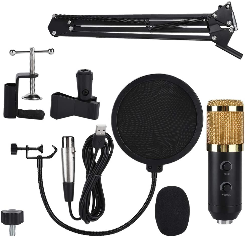 BTIHCEUOT Condenser Microphone Kit Set with USB Reverb Shock Mount Pop Shield Filter Stand Clip for Computer