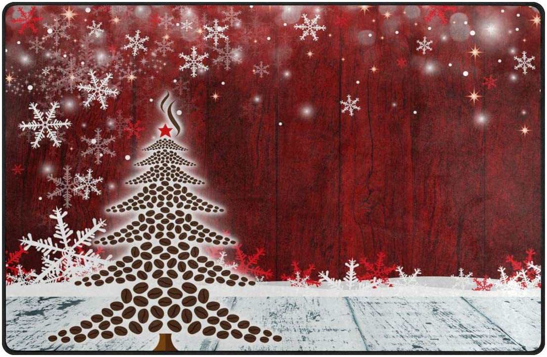 Nander Carpets Soft Polyester Christmas Area Rugs Parlor Christmas Coffee Tree Mat Rugs Anti-Slip Large Rug Carpet for Living Room Decor