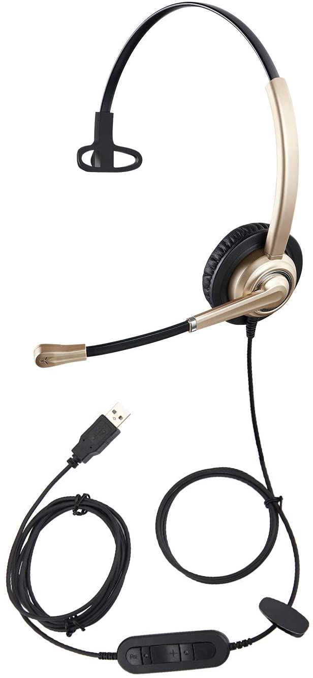 USB Headset with Microphone Noise Cancelling, Volume Control and Mic Mute, Computer Headset for Call Center and Online Conference Super Light PC Headphone for 3CX Teams Skype for Business