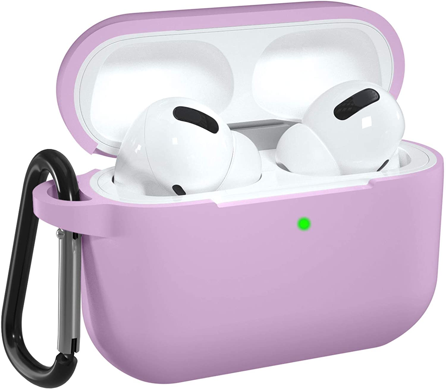 DGege Silicone Case Cover Compatible with Apple AirPods Pro, Protective Case with Carabiner for Airpods 3 (Front LED Visible), Lavender