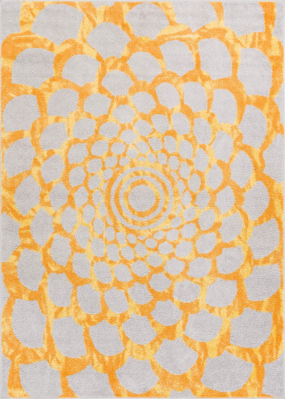 HOMEWAY Pattern Rugs - Net Modern Area Rug Yellow 5' x 7' Carpet