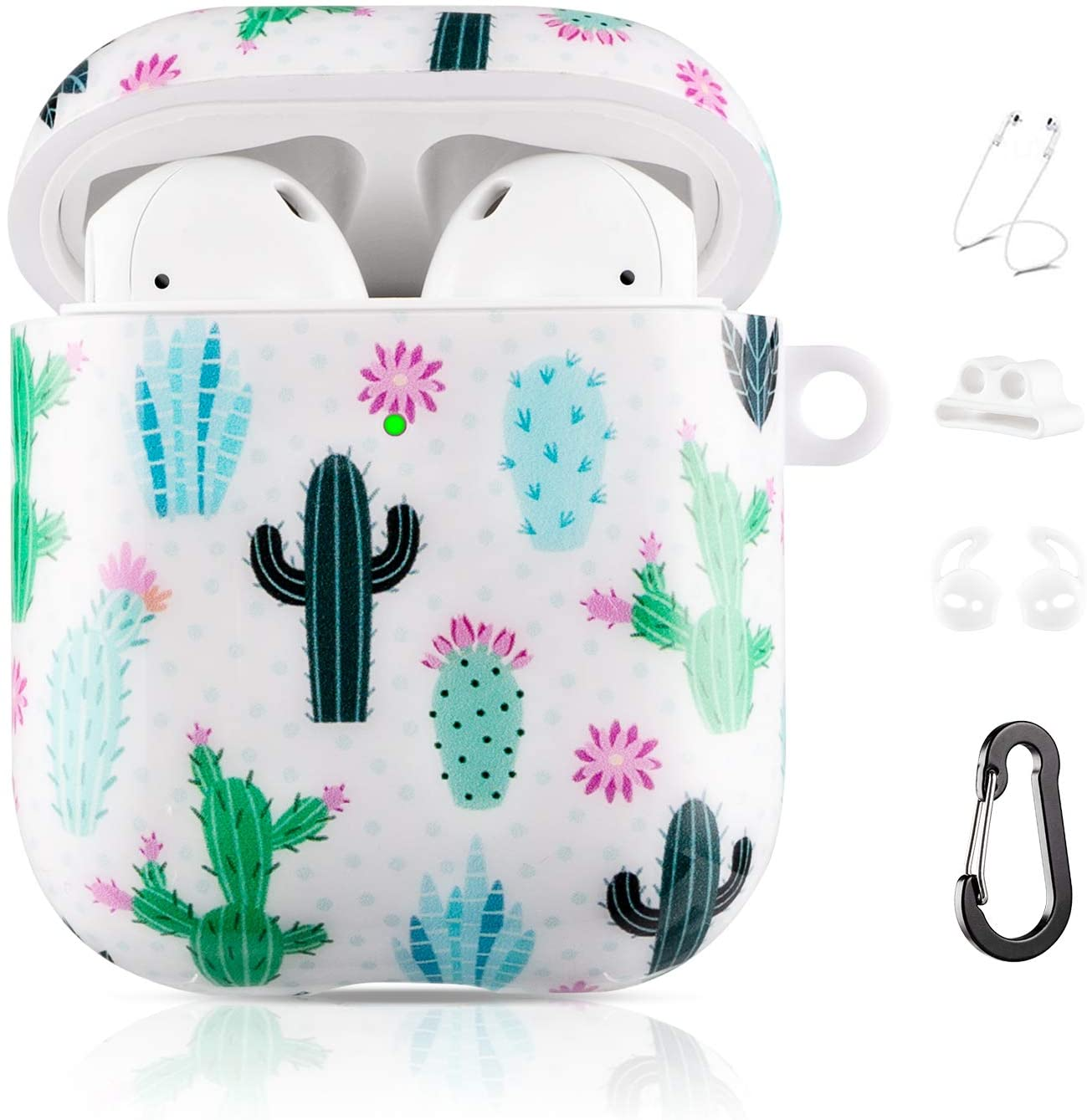 Drodalala Airpods Case Compatible with TPU Durable Protective Cover for Girls Boys Kids, Shockproof Drop Proof Case for AirPods 2 and 1 with Keychain(Polka dot Cactus)