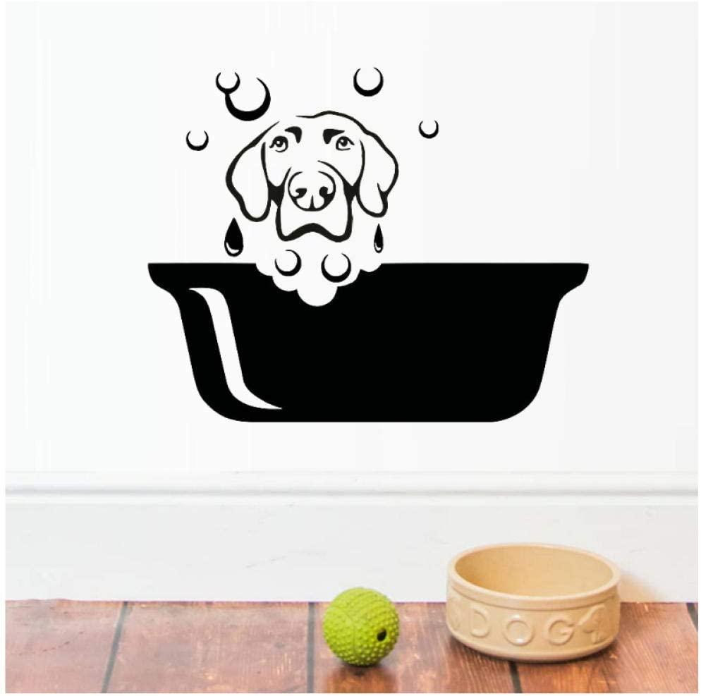 dsajgker Dog Vinyl Wall Art Stickers Pets Grooming Salon Waterproof Bathroom Mural Decal Vinyl Wall Decal Kids Nursery Baby Room56X68 cm
