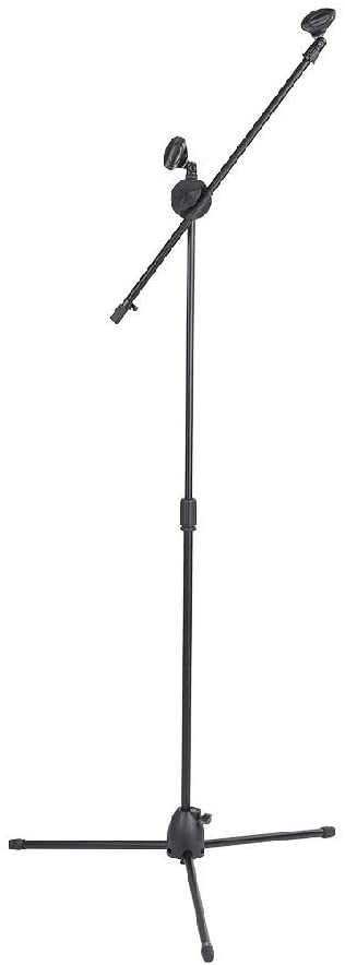 AutumnFall 360-degree Rotating Microphone Stand Foldable, Upgraded Mic Stand with Dual Mic Clip Arm Holders Heavy Metal Base Adjustable Hight 65-130cm Collapsible Tripod Boom Stands