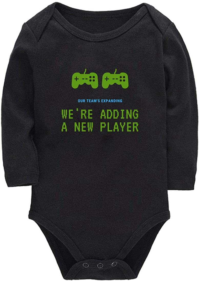 We are Adding A New Player Baby Announcement Onesie Bodysuit Long Sleeve Toddler Rompers