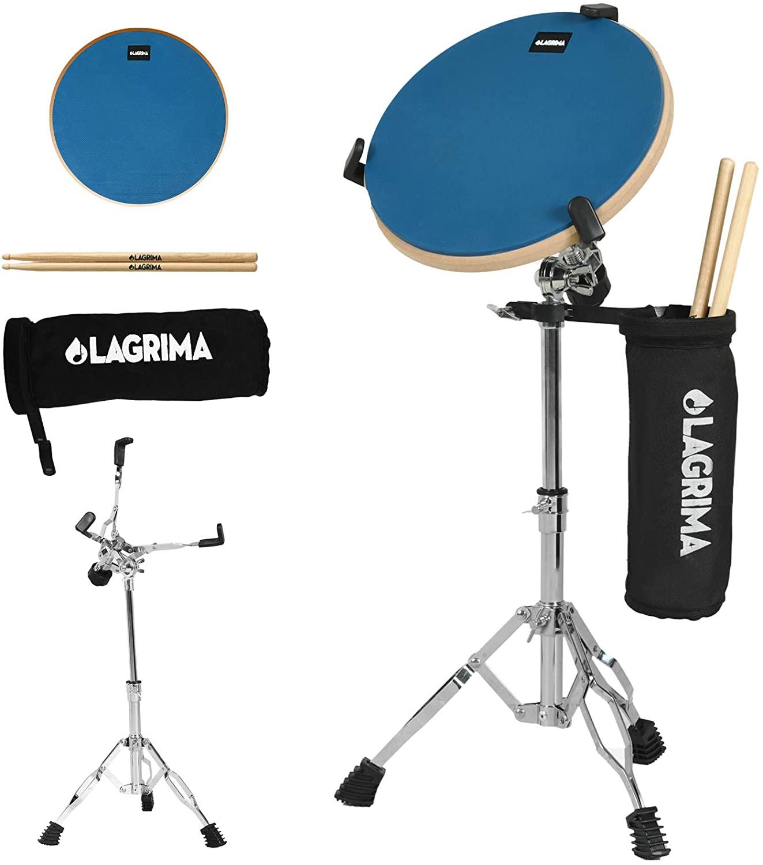 LAGRIMA 12 Inch Professional Silent Drum Practice Pad With Snare Drum Stand Adjustable Kit, Dumb Drum Beginner Rubber Practice Pad, Blue