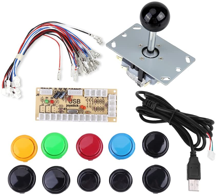 Arcade Game Buttons Kits,Zero Delay Arcade Game DIY Kits Parts 10 Buttons + Joystick + USB Encoder for MAME PC