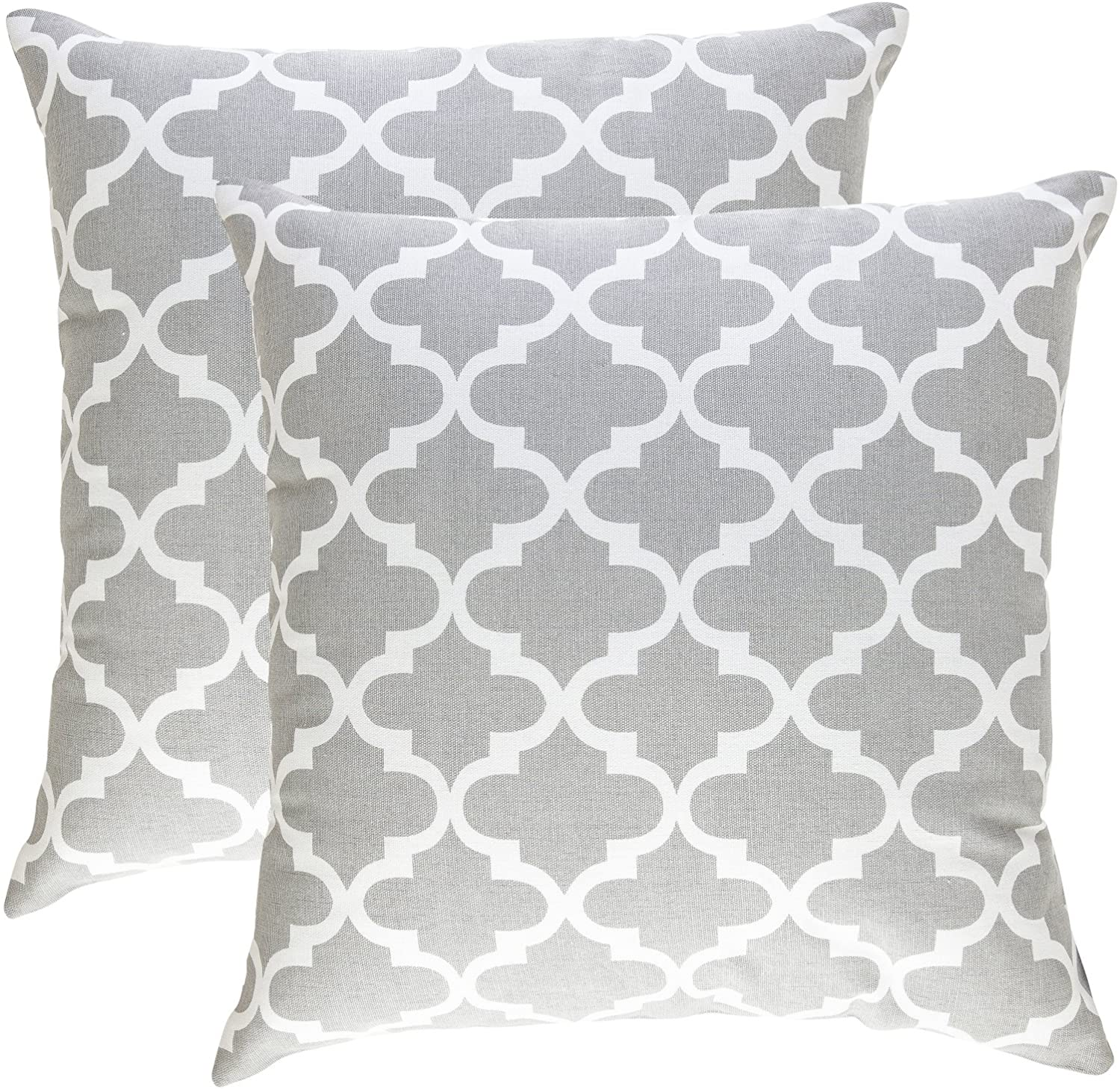 TreeWool, Pack of 2, Throw Pillow Cover Moroccan Trellis Accent 100% Cotton Decorative Square Cushion Cases (20 x 20 Inches / 50 x 50 cm; Silver Grey & Off-White)