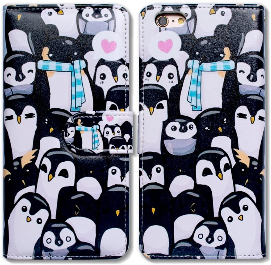 iPod Touch 7 Case,iPod Touch 6 Case,Bcov Black Cute Penguins Wallet Flip Leather Cover Case with Credit Card ID Card Slot Holder Kickstand for iPod Touch 7/6/5
