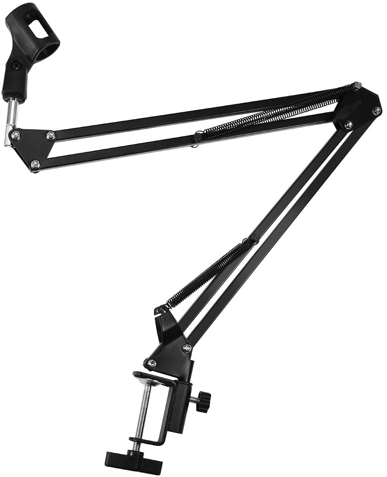 Zopsc Microphone Stand Foldable Adjustable Microphone Mic Suspension Boom Scissor Arm Stand with Super-Strong Spring Microphone Holder with Mounting Clip Wide Application