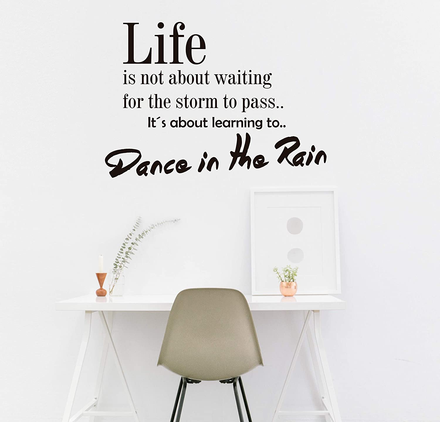 Quote Wall Decal - Dance in The Rain Wall Decal Vinyl Sticker Nursery for Home Bedroom Children