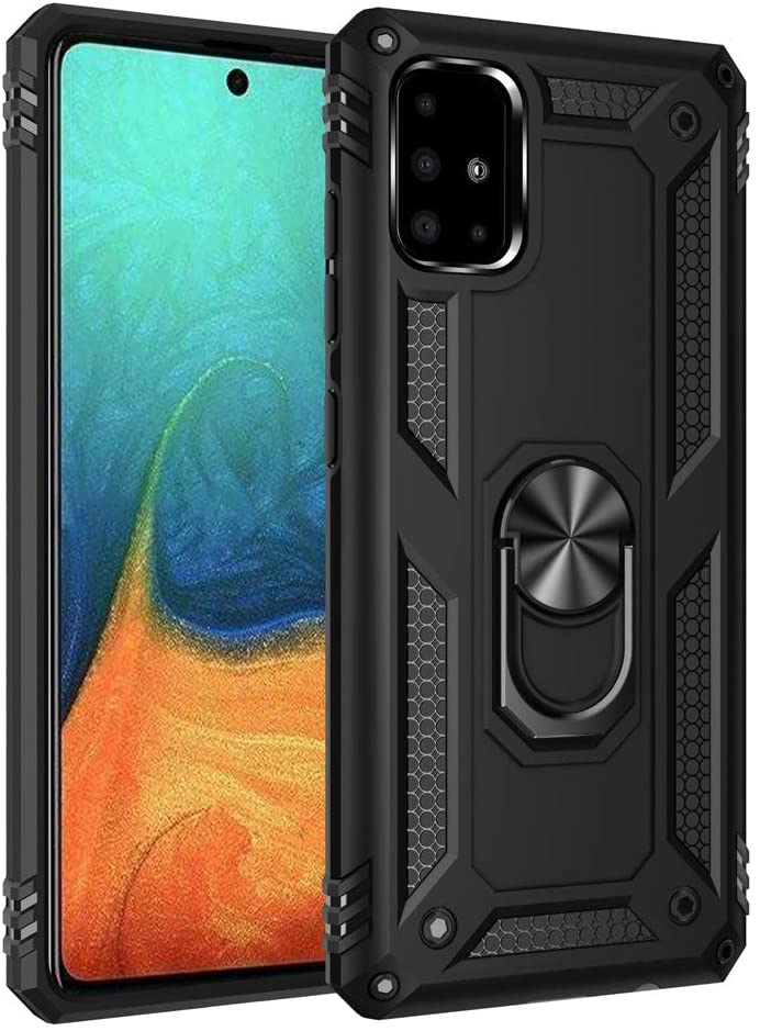 OOPKINS Case for Note 10 Lite Shockproof Magnetic 360 Degree Rotating Metal Ring Holder Kickstand Armor Anti-Fall Bracket Slim Fit Protection Cover for Samsung Galaxy A81 / M60S Black AC