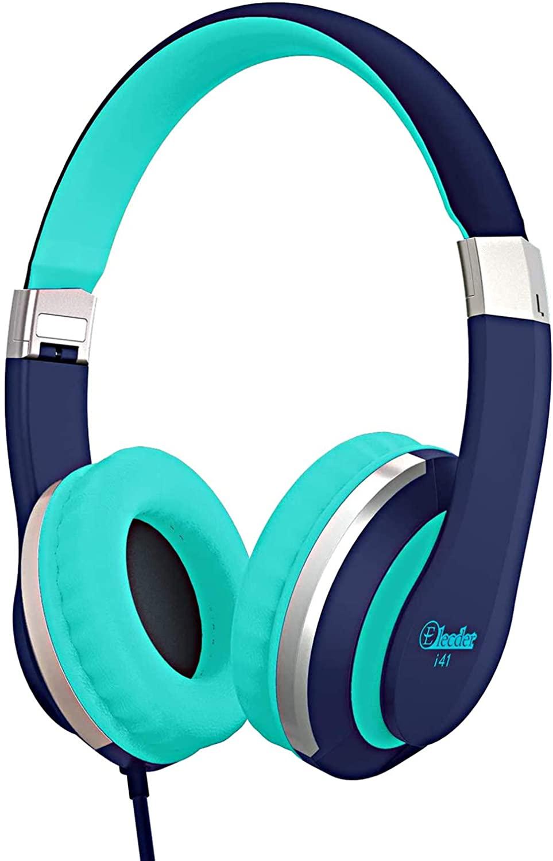 Kids Headphones Elecder i41 Headphones for Kids Children Girls Boys Teens Foldable Adjustable On Ear Headphones with 3.5mm Jack for iPad Cellphones Computer Kindle Airplane School Blue&Teal