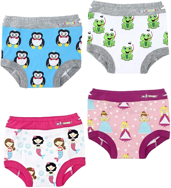 Ez Undeez Toddler Girls Training Underwear, Easy Pull Ups (4 Pack) (3T, Penguin-Frog-Mermaids)