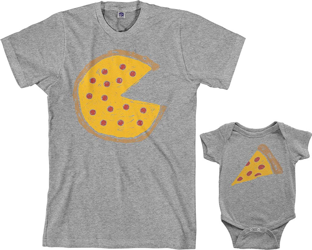 Threadrock Pizza Pie & Slice Infant Bodysuit & Mens T-Shirt Matching Set (Baby: 12M, Sport Gray|Mens: 2XL, Sport Gray)