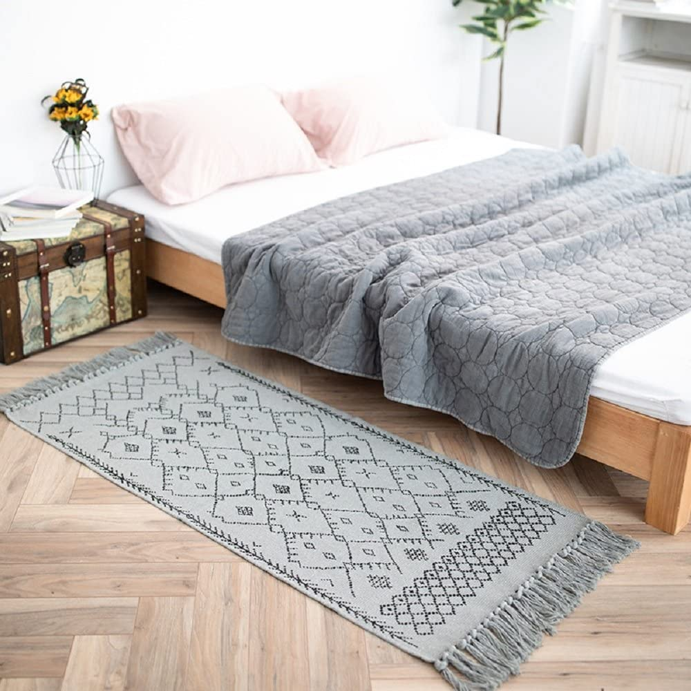 HEBE Cotton Area Rug 2x3, Hand Woven Fringe Print Tassels Throw Rugs Carpet Door Mat Indoor Bohe Area Rugs for Bathroom,Bedroom,Living Room,Laundry Room