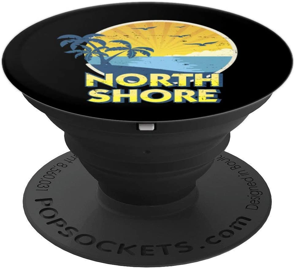 Vintage North Shore, Island Surfing 70s Retro PopSockets Grip and Stand for Phones and Tablets