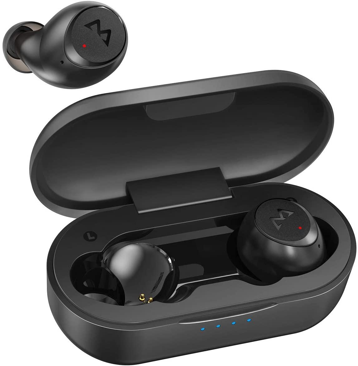 Wireless Earbuds, Mpow M7 Bluetooth Sports Earbuds w/Twin&Mono Mode, Deep Bass Bluetooth Earbuds Wireless w/30 Hrs/Noise Cancelling Mics/USB C Quick Charging/Ergonomic Design, Black
