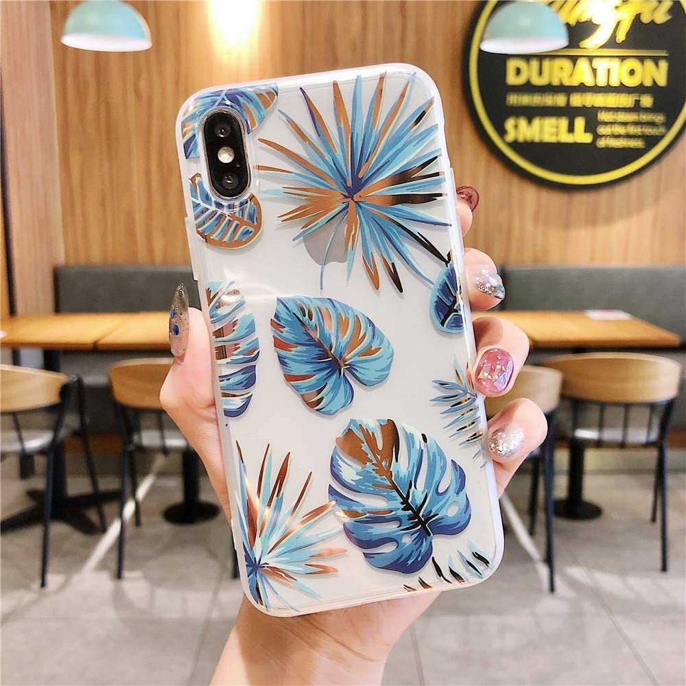 Cocomii Palm Leaf Clear iPhone SE 2020/iPhone 8/iPhone 7 Case, Slim Thin Glossy Soft Flexible TPU Silicone Rubber Gel Palm Leaves Floral Fashion Bumper Cover for Apple iPhone SE 2020/iP8/iP7 (Blue)