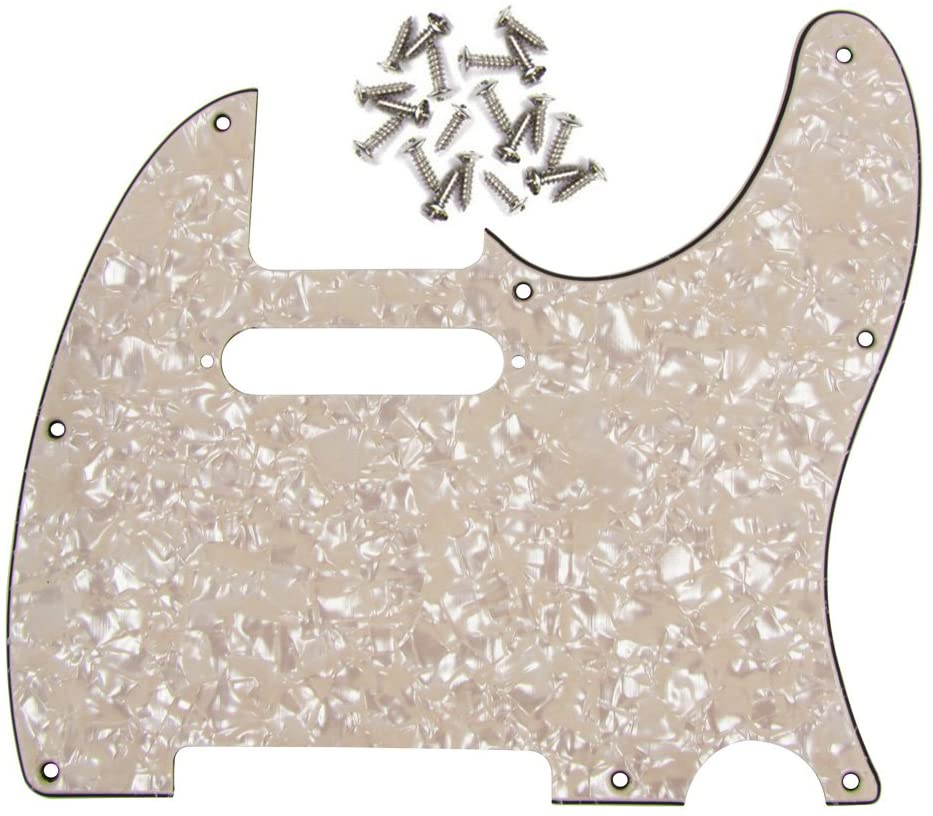 IKN 4Ply Aged Cream Pearl 8 Hole Tele Pickguard Pick Guard Scratch Plate w/Screws Fit USA/Mexican Fender Standard Telecaster Pickguard Replacement