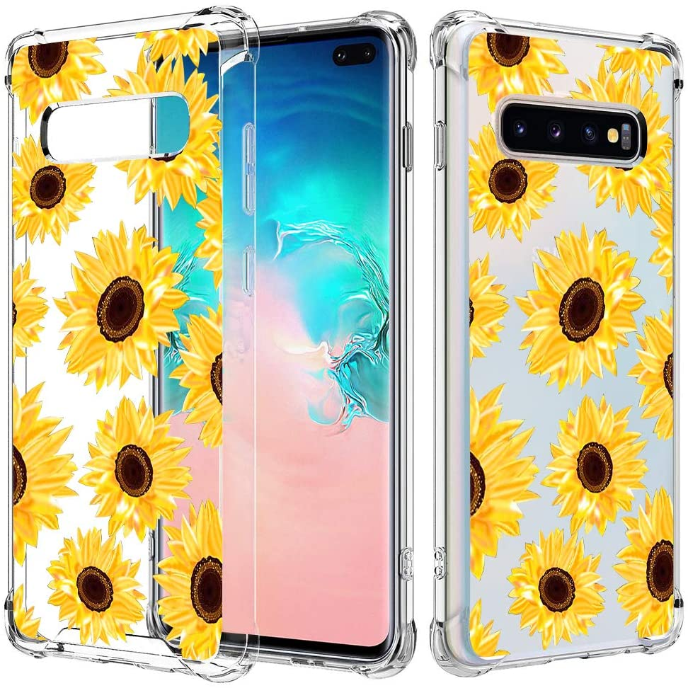 JOYLAND Sunflower Case for Galaxy S9 Flower Phone Case Crystal Clear Floral Case with Reinforced Corner Bumpers Transparent Hard Cover Shock Absorption Full Cover Shell 10 for Samsung Galaxy S9