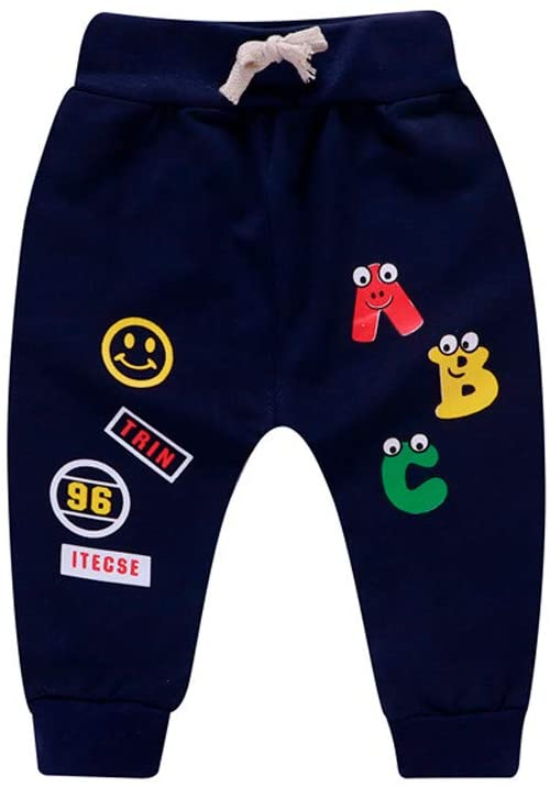 Ywoow Children's Cartoon alphanumeric Print Pants Trousers Harem Pants Newborn Baby Girl Boy Cartoon Letter Printed Casual Pants