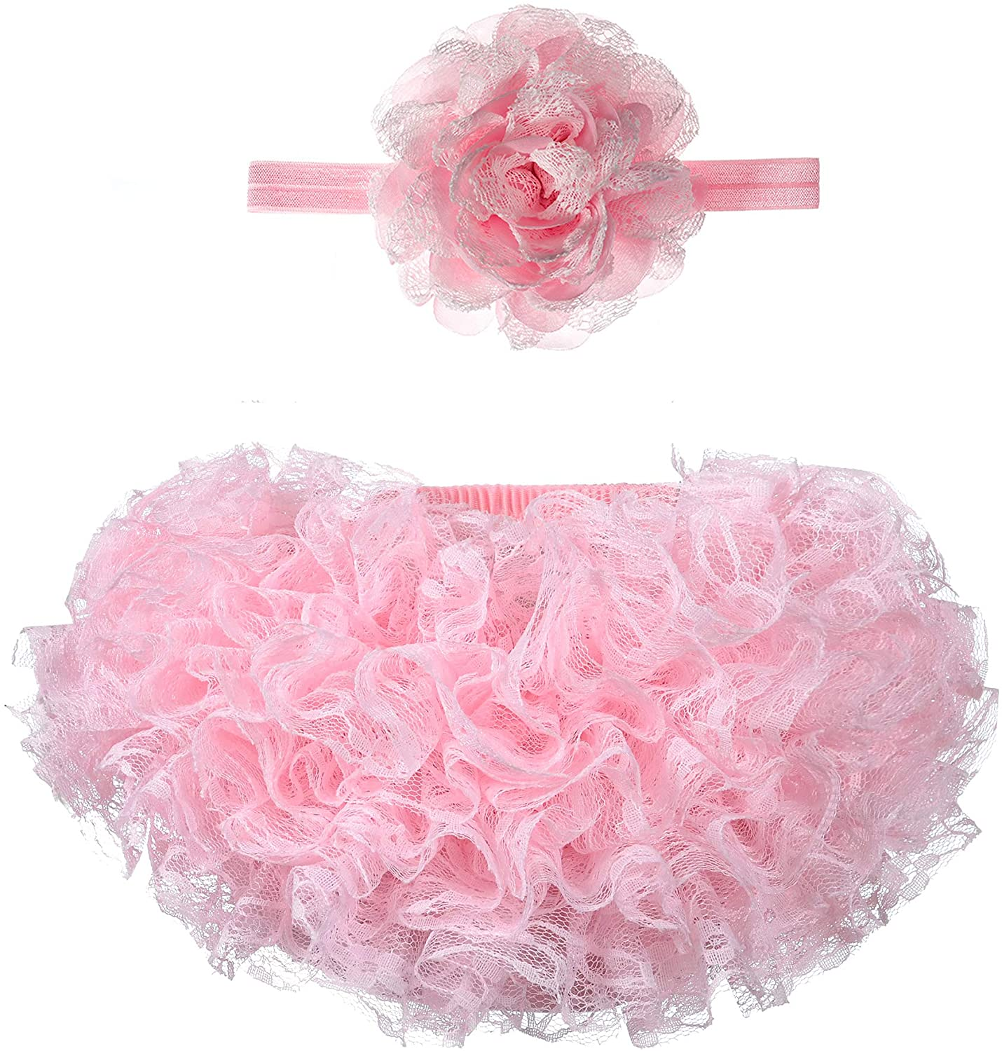 Baby Bloomers Newborn Ruffle Diaper Covers Baby Tulle Bloomer Headband Set 0-3 Months