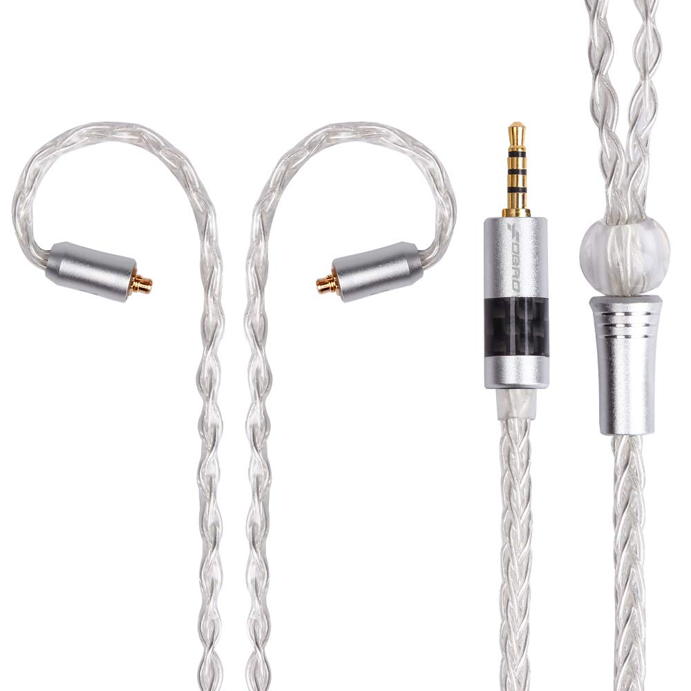 kmrlim-FDBRO-8 core Silver Plated Wire Carbon Fiber Plug A17, Earphone Replacement Upgrade Cable, Metal Silver Copper Wire-Four Models: 2PIN.MMCX.IE80.A2DC (MMCX, Silver+2.5mm)