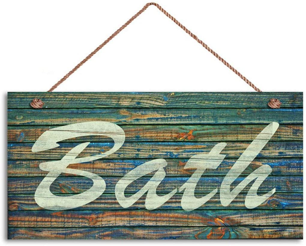 Bath Sign, Distressed Wood Style, Greens and Blues, Wall Art, Bathroom Sign, 5