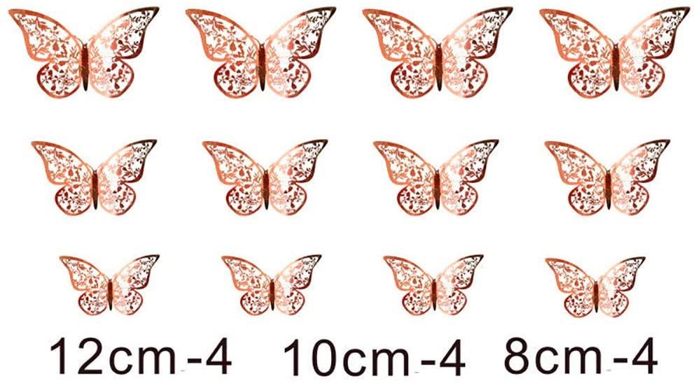 Chiatai Butterfly Decorations,3D Wall Decals,Metallic Art Sticker,DIY Decorative Paper Murals for Home,Bathroom,Livingroom,Kid Bedroom,Nursey,Party Décor (Rosegold, Style C)