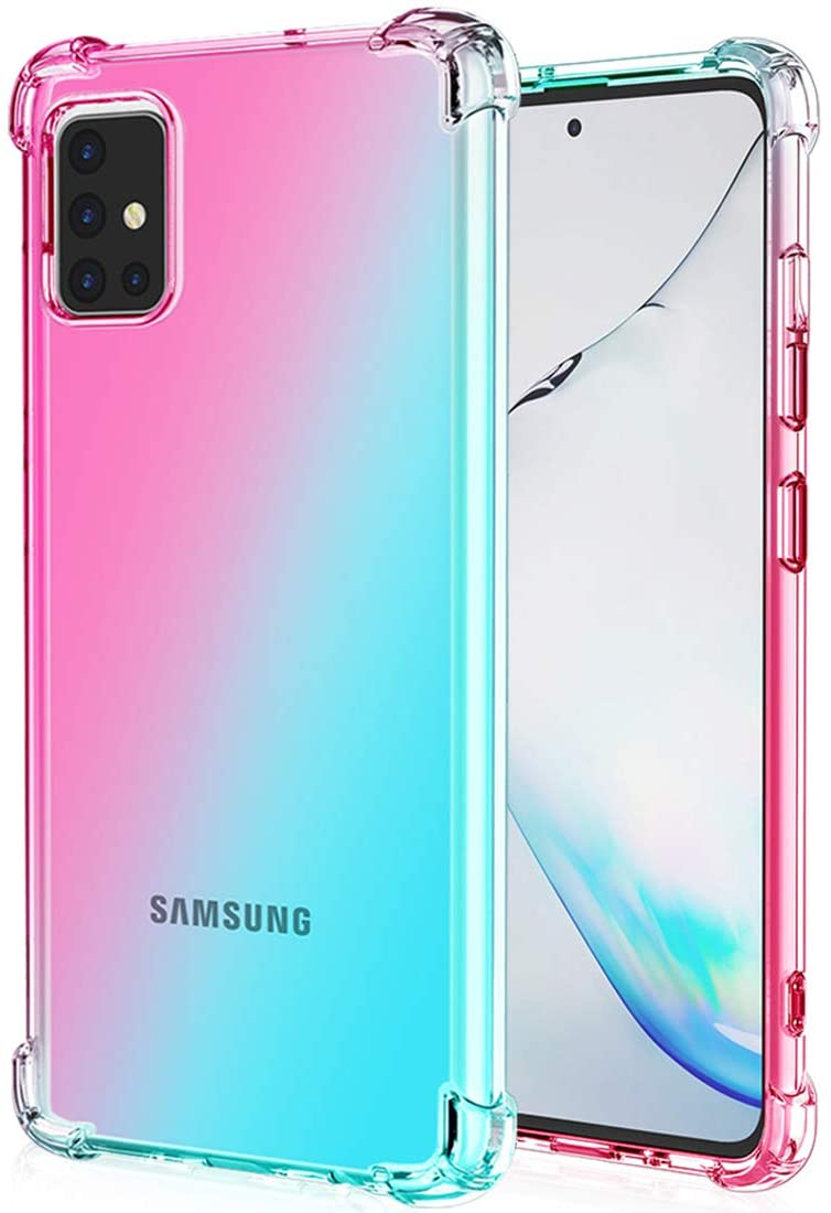 Ueokeird Galaxy A51 Case (Not Fit A51 5G),Clear Cute Gradient Phone Case Slim Anti Scratch Flexible TPU Cover Shockproof Protective Case for Samsung Galaxy A51 (Pink/Green)