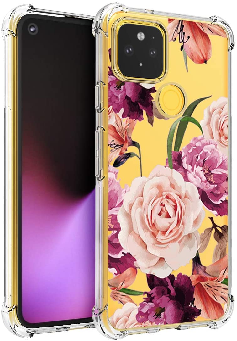 Osophter for Pixel 5 Case Flower Floral for Girls Women Shock-Absorption Flexible TPU Rubber Phone Cover for Google Pixel 5(Purple Flower)