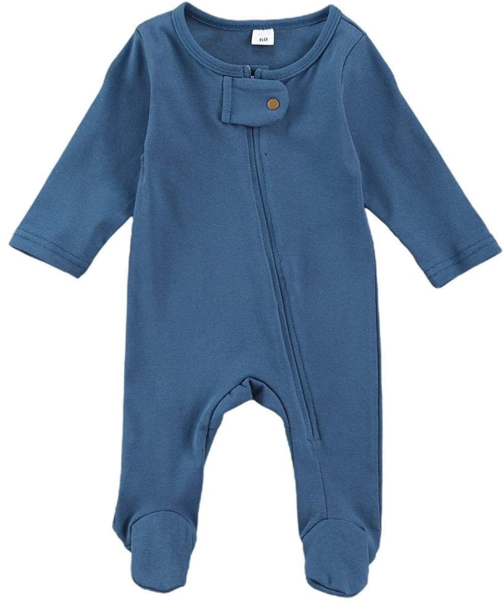 GOOCHEER Newborn Baby Girl Boy Long Sleeve Footed Romper Zipper Sleepers Jumpsuit Cotton Pajamas Fall Winter Outfits
