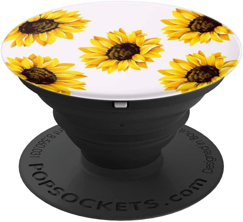 Sunflower Floral Pattern Phone Popper PopSockets Grip and Stand for Phones and Tablets