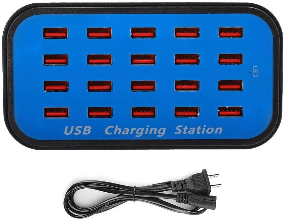 EBTOOLS 20-Port Charging Station, 90W 18A Desktop Fast Charger USB Charging Hub for Tablet/Computer/Phone (100-240V) Compatible with Most USB Smart equipments(US Plug)
