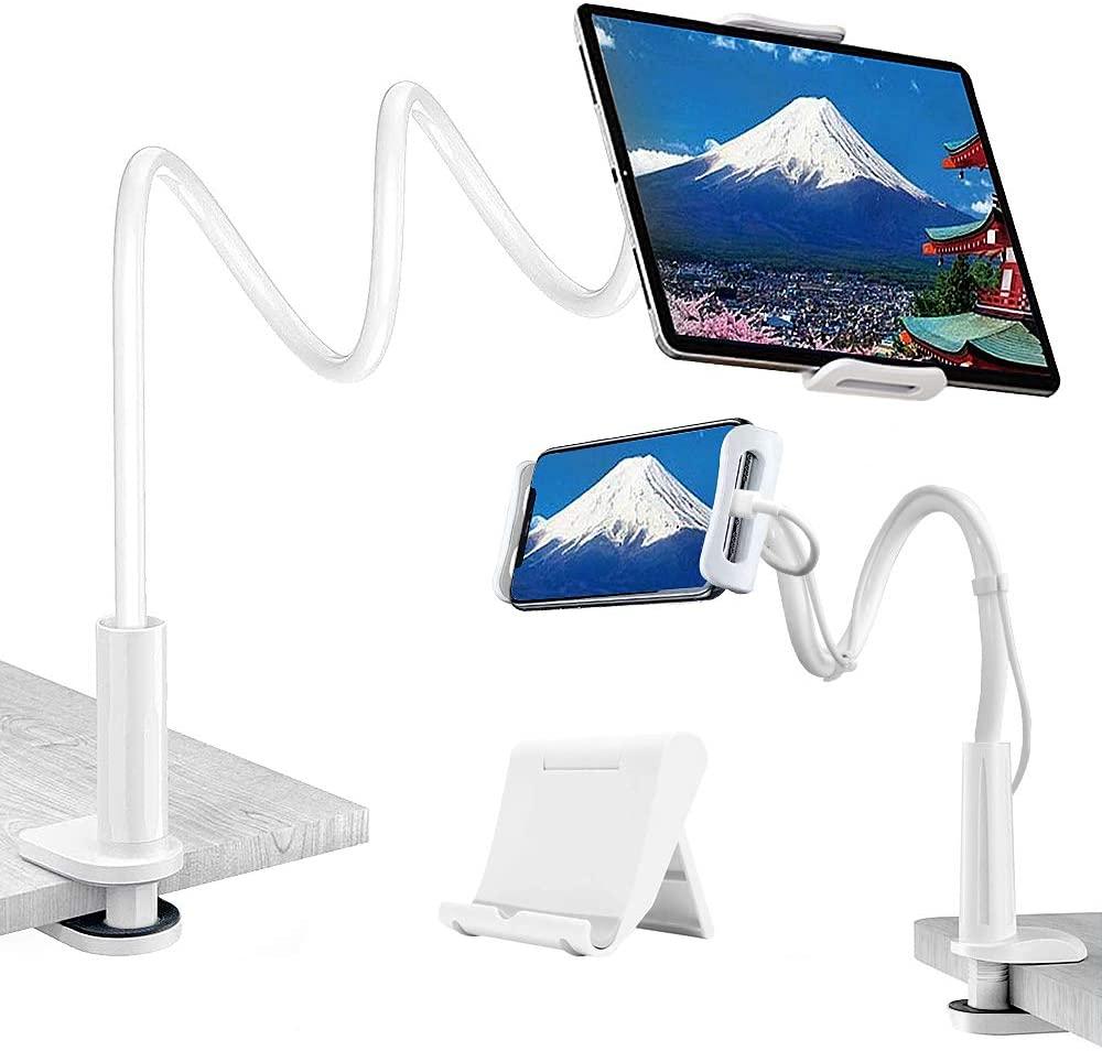 Gooseneck Tablet Holder,Solid-Grip Phone Holder for Desk,360 Adjustable Universal Gooseneck Lazy Tablet Stand-Fits All Devices Between 4.7-10.5 inches