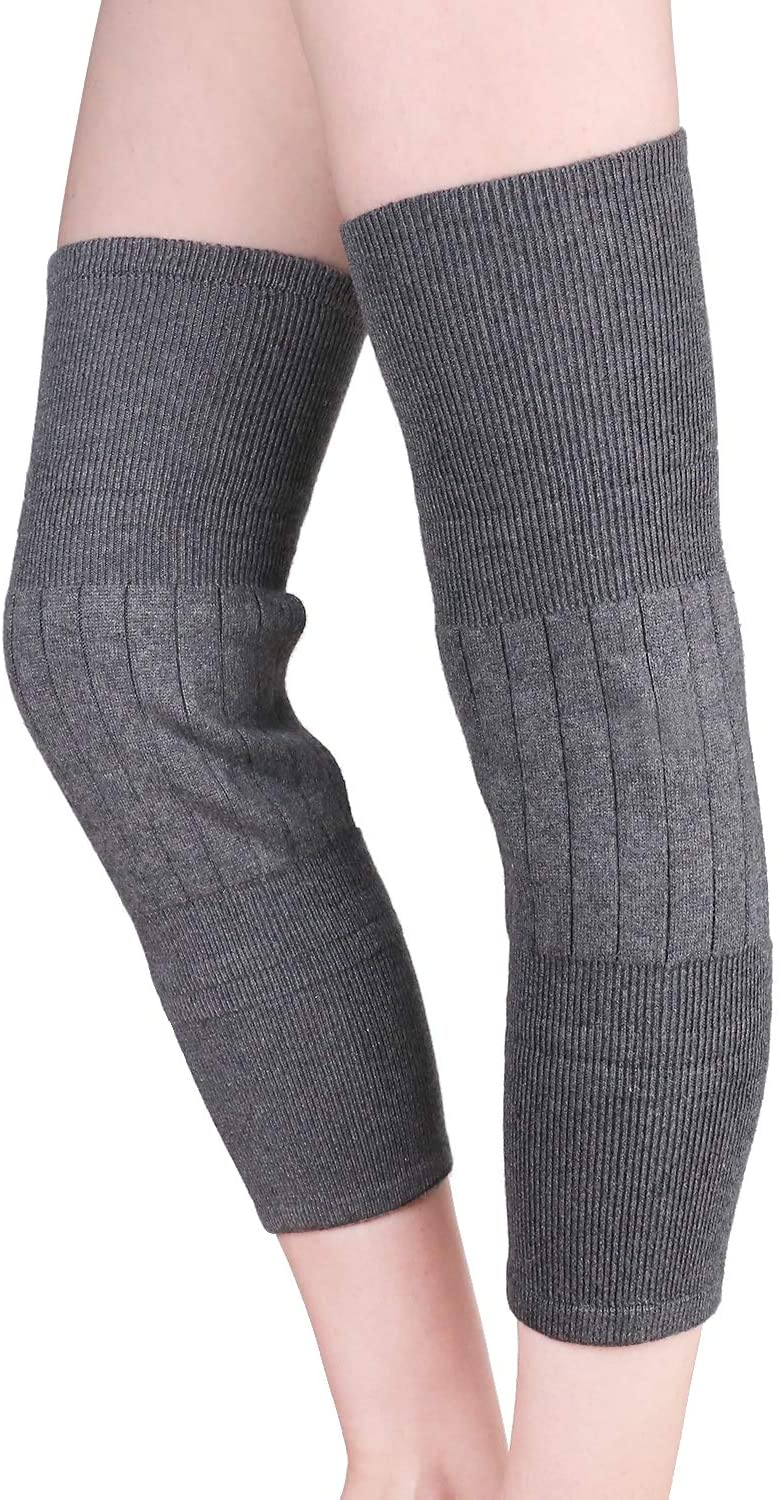 Ajaol Men Women Thicken Thermal Cotton Knee Braces Leg Warmers Winter Breathable Cozy Warm Knee Pads Leg Sleeves Support Protector for Ski Cycling Dance Runing Arthritis Tendonitis, 1 Pair, Grey