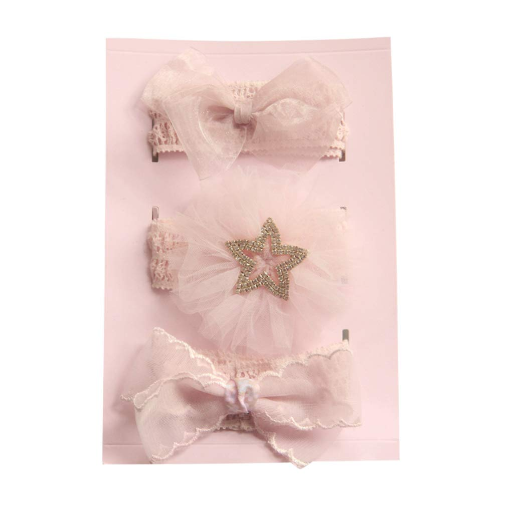 Beaupretty 3pcs Baby Head Band Ribbon Soft Bowknot Yarn Star Elastic Head Wraps Decorative Hair Accessory for Infant Baby