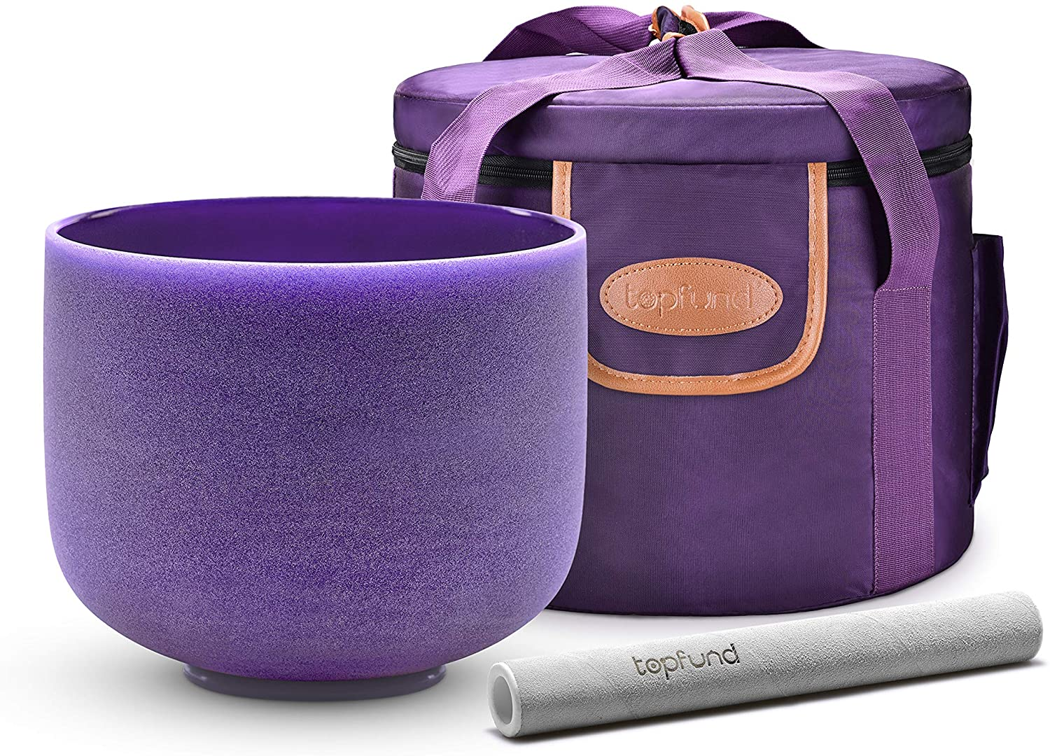 TOPFUND Violet B Note Crystal Singing Bowl Crown Chakra 8 inch with Heavy Duty Carrying Case and Suede Striker