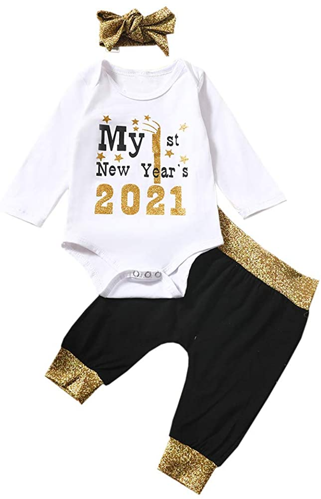 Aoliandatong Baby My 1st New Year 2021 Romper Pants Set with Bowknot