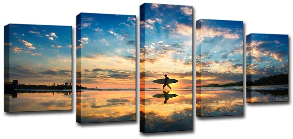 Yybao - HD Print Painting 5 Pieces Canvas - Sunset Beach Man Ready to Surf Seascape Pictures Artwork Poster - Modern Wall Art for Living Room Office Bathroom Bedroom Home Decor - Ready to Hang