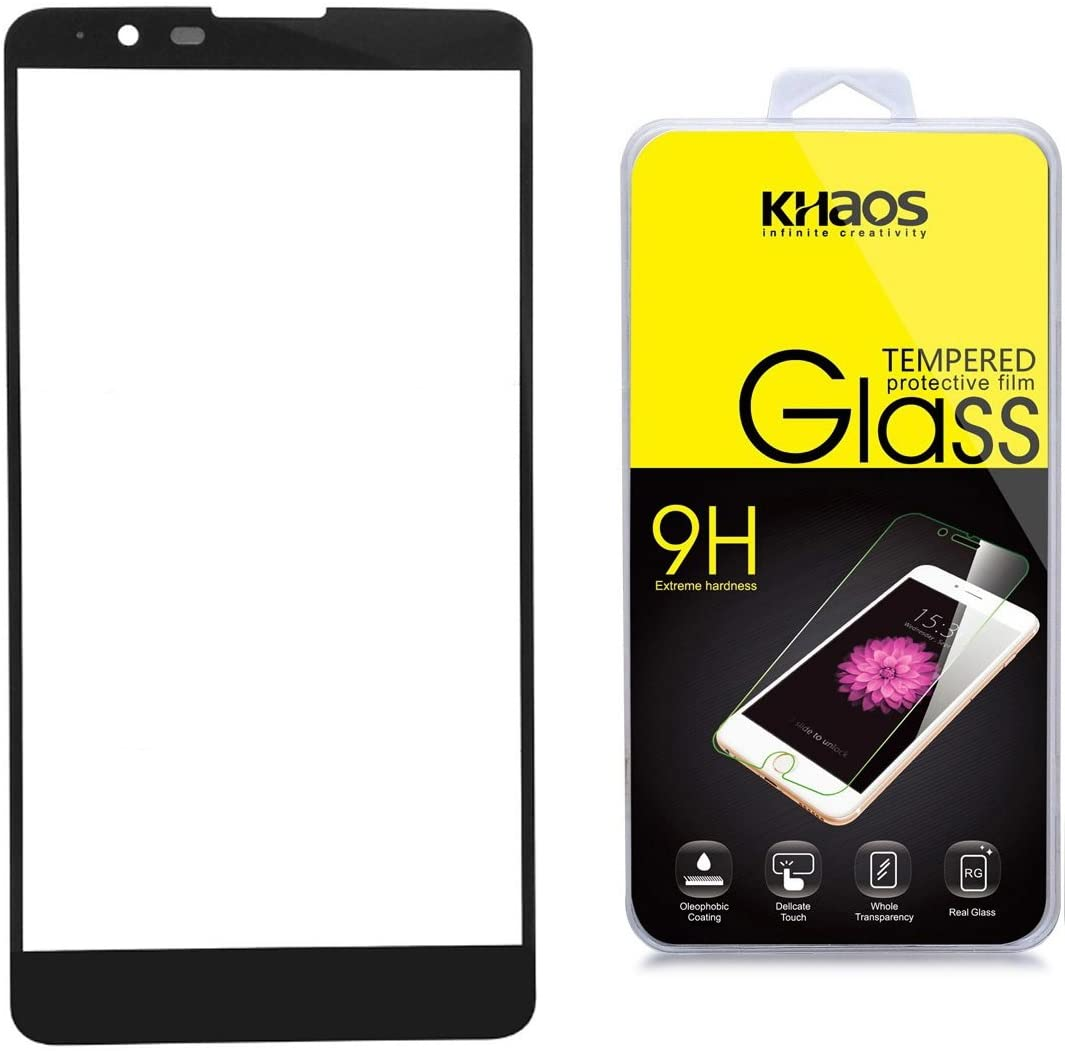 KHAOS for LG G Stylo 2 / LG Stylo 2 LS775 [Full Screen Coverage] Tempered Glass Screen Protector, 2.5D Rounded Edge, (Black)