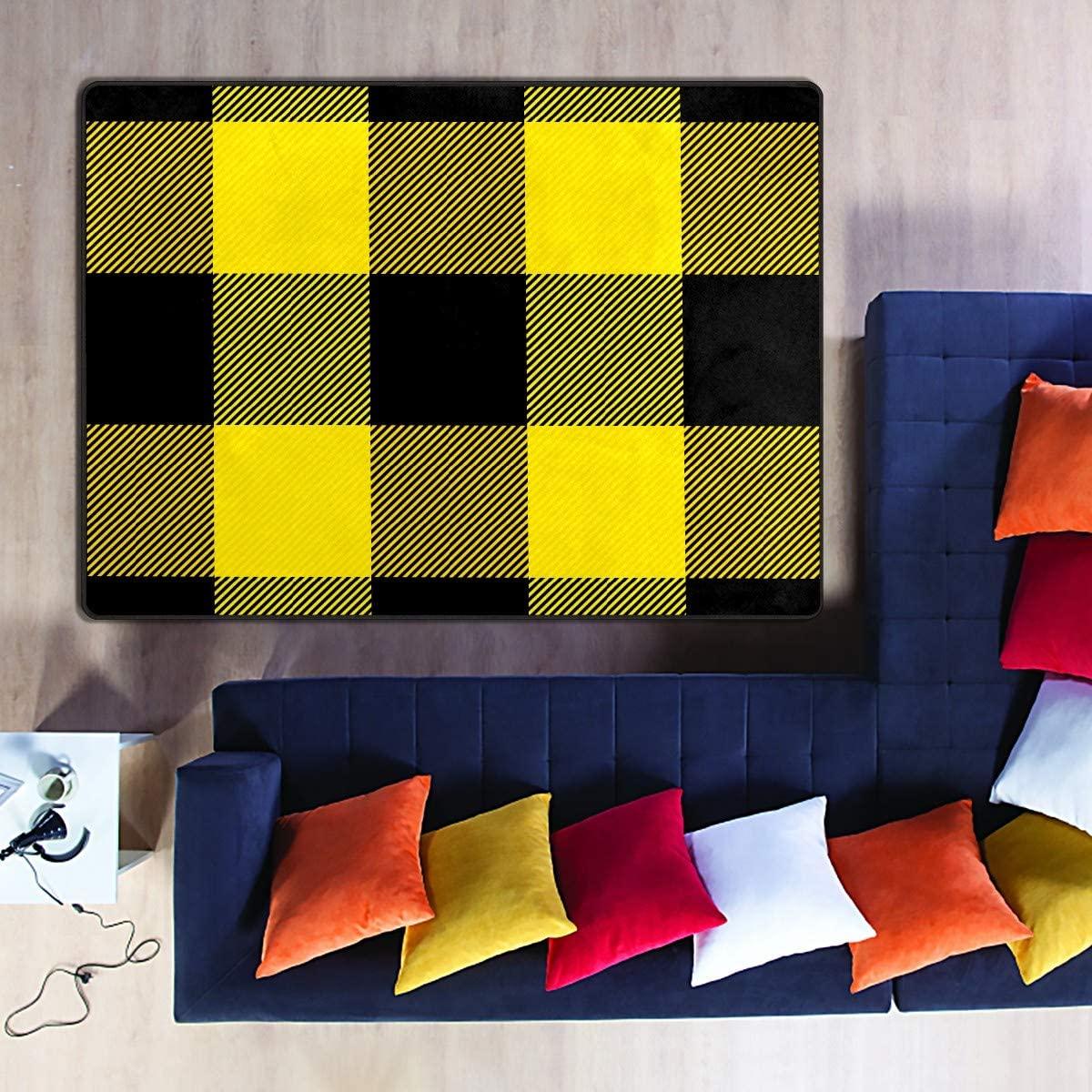 Yellow Black Plaid Pattern 5'3''x4' Soft Area Rugs Kitchen Rugs Rectangle Velvet Carpet Multifunction Floor Mats for Bedroom Living Room Home Decor Office