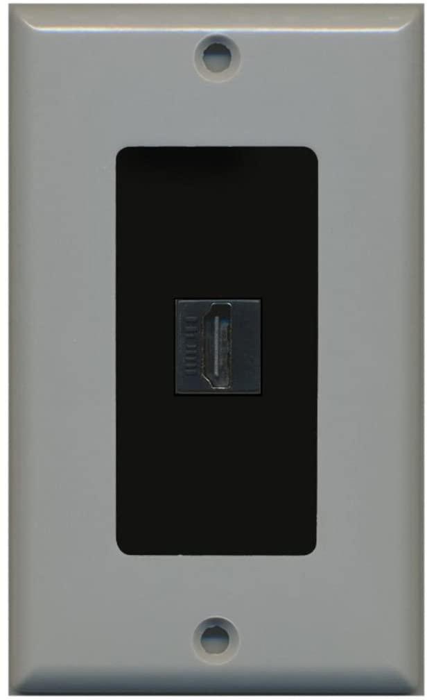 RiteAV - 1 Port HDMI 2.0 Decorative Wall Plate (Gray & Black)