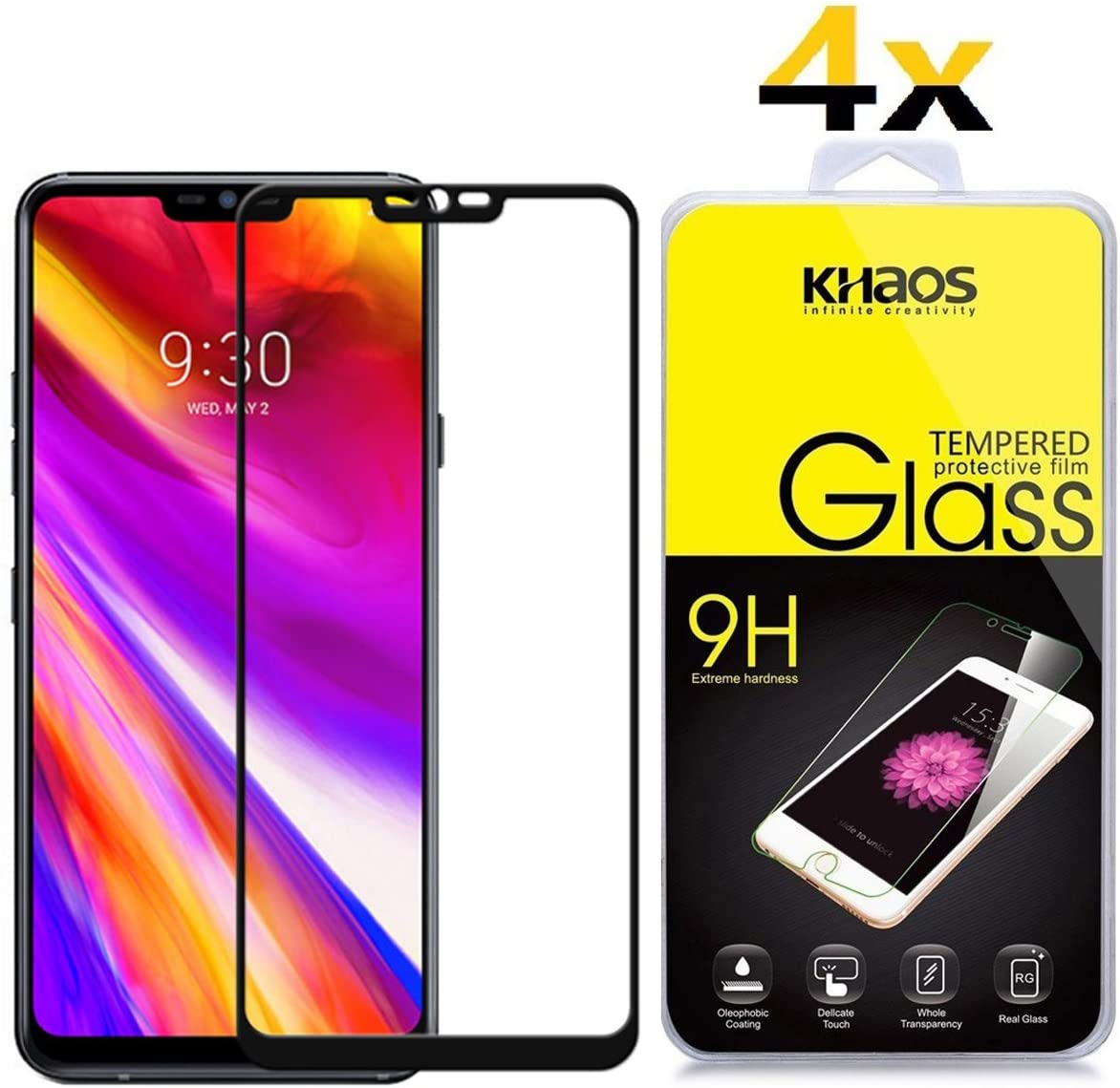 [4 Pack] Screen Protector for LG G7, Full Screen Coverage KHAOS Tempered Glass Screen Protector Ultra Clear Scratch Resistant for LG G7 -Black